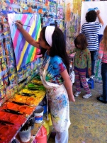 kids painting bright colors